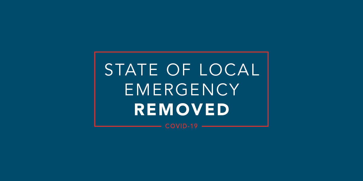 Blue graphic with white text saying State of Local Emergency Removed.