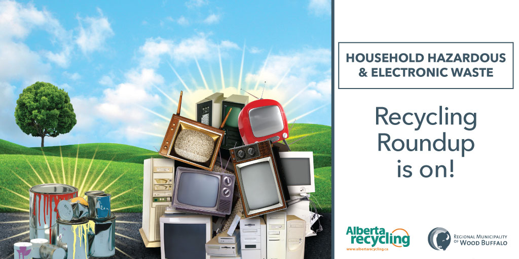 A graphic showing household hazardous and electronic waste with the text