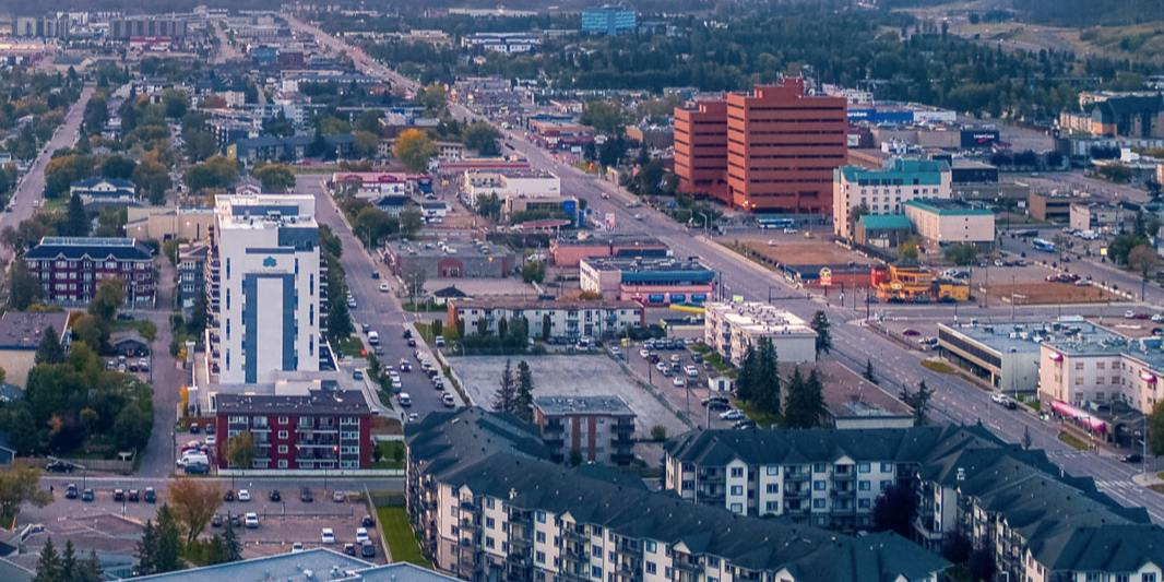 Aerial view of downtown Fort McMurray