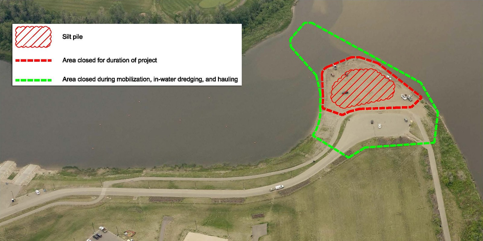 map of dredging work and closures at Snye Point